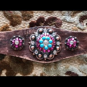 Artisan Leather Bracelet w/Swarovski Crystals.